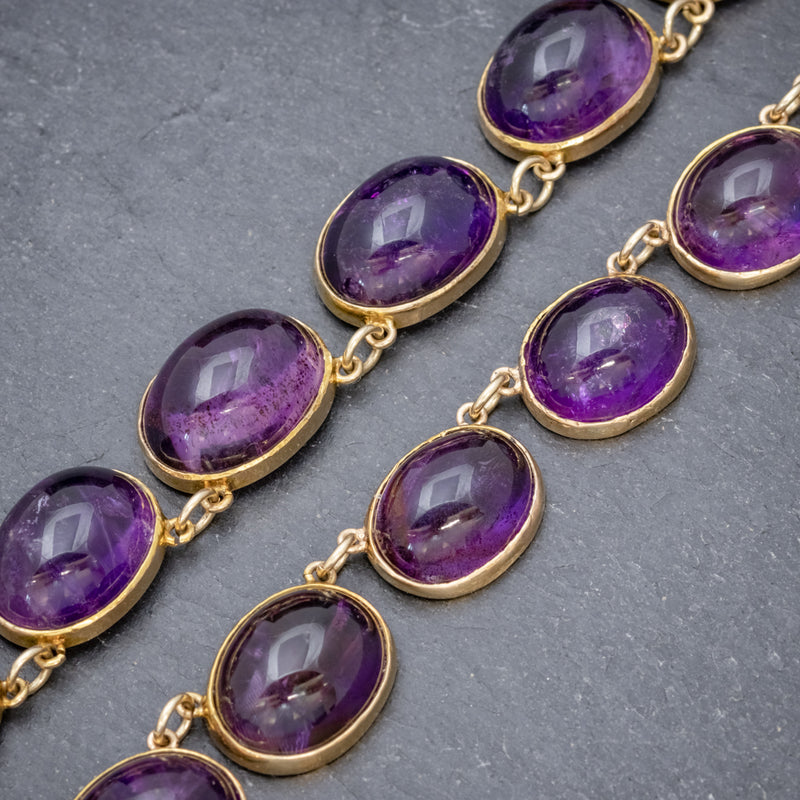 ANTIQUE VICTORIAN AMETHYST NECKLACE 15CT GOLD COLLAR CIRCA 1880 LINKS