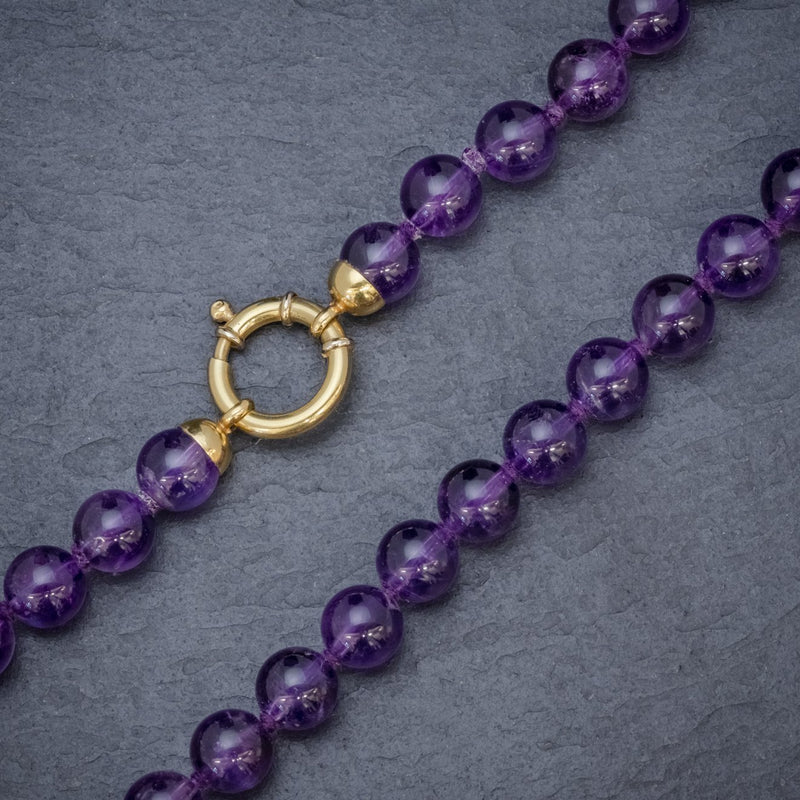 ANTIQUE VICTORIAN AMETHYST NECKLACE 18CT GOLD CLASP CIRCA 1900 BEADS