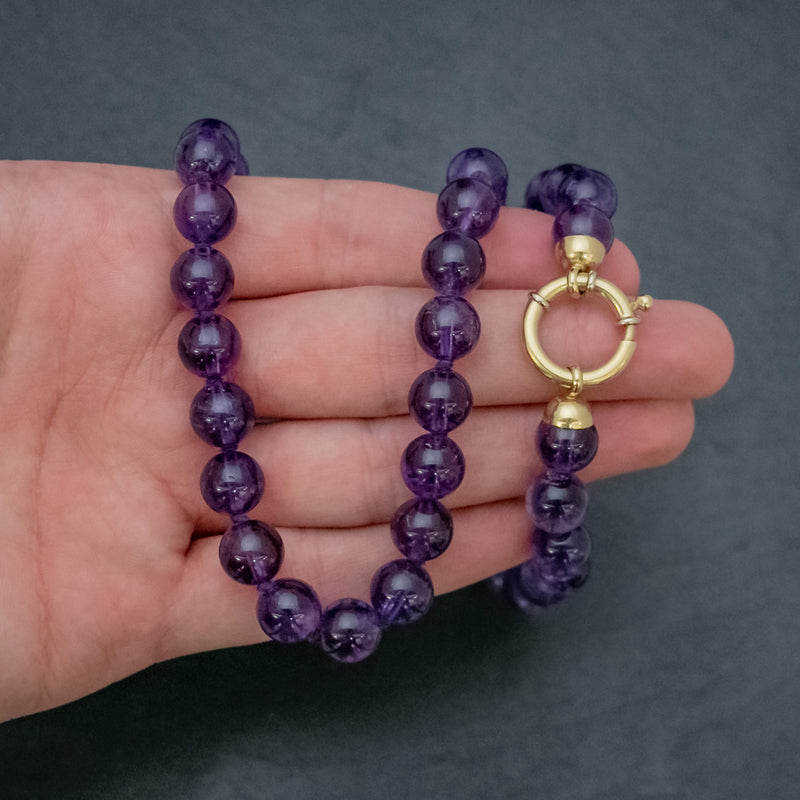ANTIQUE VICTORIAN AMETHYST NECKLACE 18CT GOLD CLASP CIRCA 1900 HAND