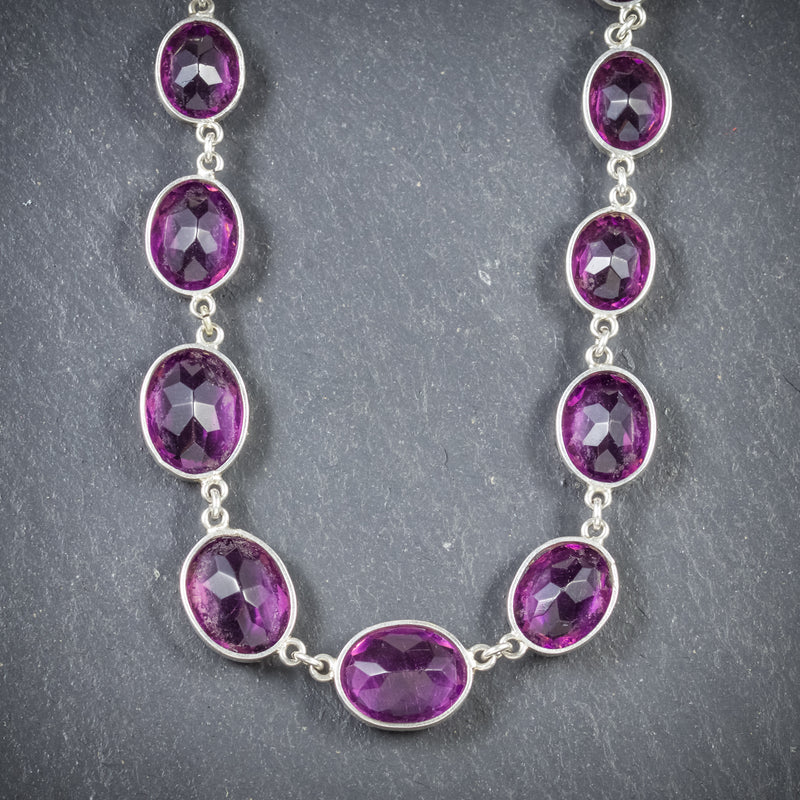 ANTIQUE VICTORIAN AMETHYST NECKLACE SILVER CIRCA 1900 BACK