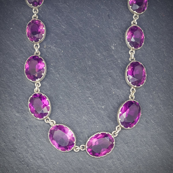 ANTIQUE VICTORIAN AMETHYST NECKLACE SILVER CIRCA 1900 FRONT