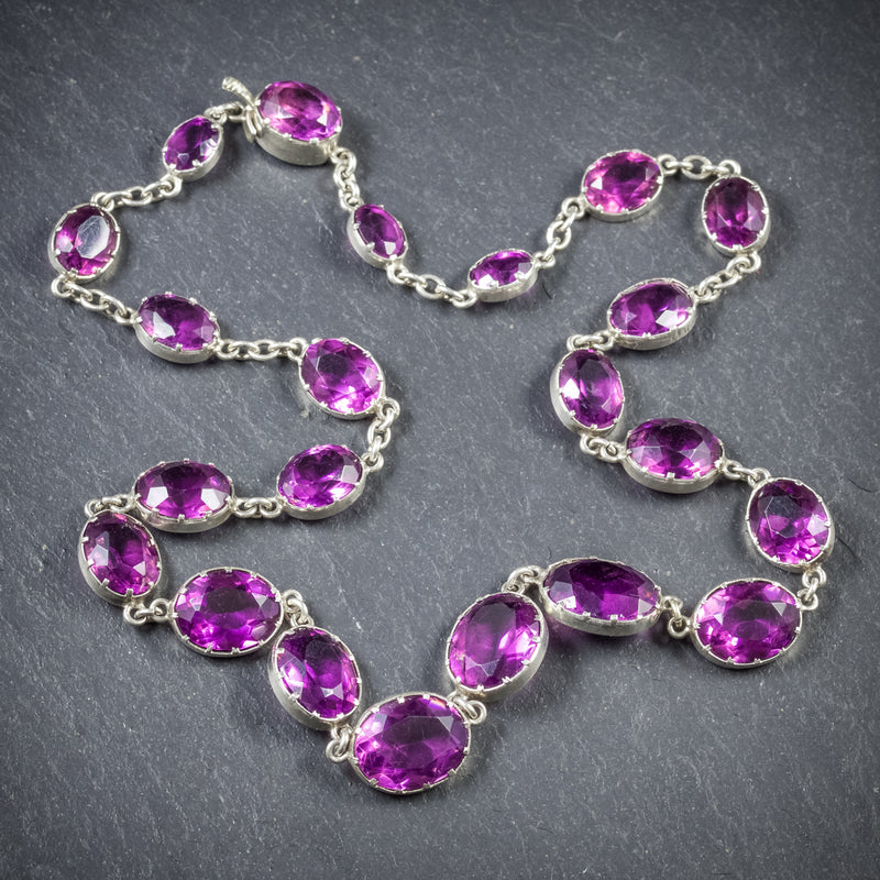ANTIQUE VICTORIAN AMETHYST NECKLACE SILVER CIRCA 1900 TOP