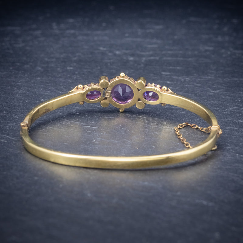 Antique Victorian Amethyst Pearl Bangle 9ct Gold Circa 1900 back