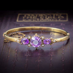 Antique Victorian Amethyst Pearl Bangle 9ct Gold Circa 1900 cover