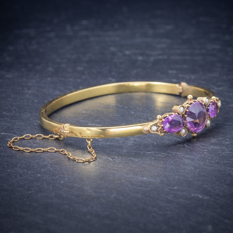 Antique Victorian Amethyst Pearl Bangle 9ct Gold Circa 1900 side
