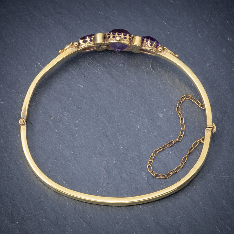 Antique Victorian Amethyst Pearl Bangle 9ct Gold Circa 1900 top