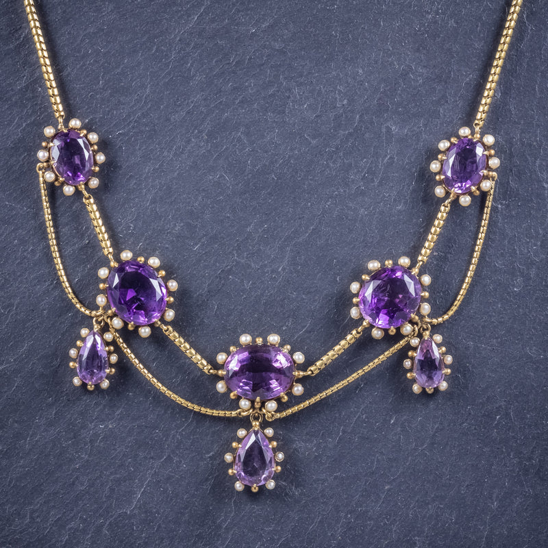 Antique Victorian Amethyst Pearl Garland Necklace 18ct Gold Circa 1860 NECK