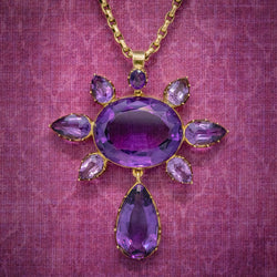 ANTIQUE VICTORIAN AMETHYST PENDANT NECKLACE 15CT GOLD CHAIN CIRCA 1900 COVER