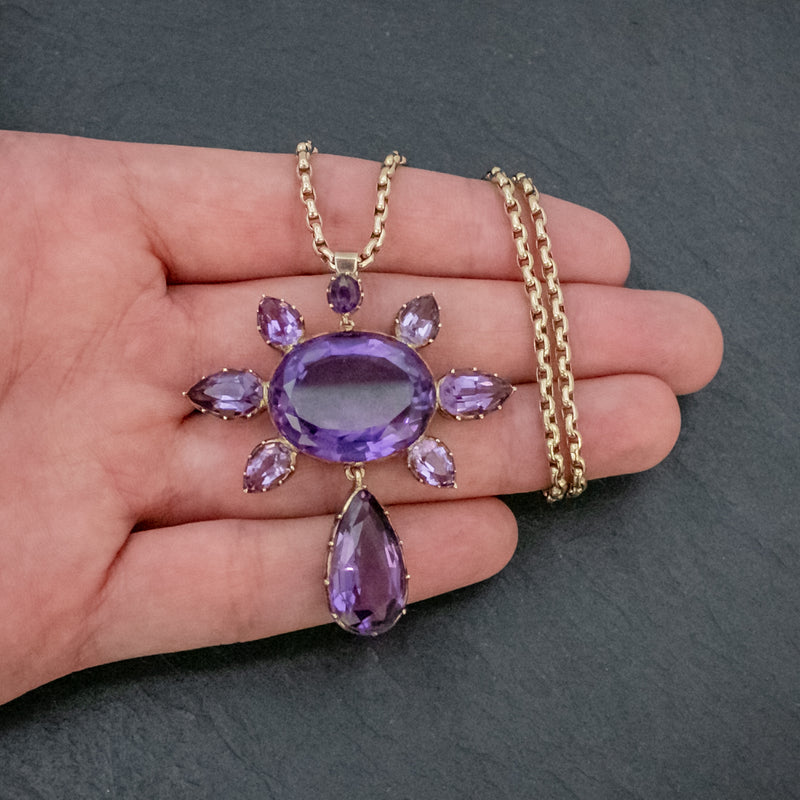 ANTIQUE VICTORIAN AMETHYST PENDANT NECKLACE 15CT GOLD CHAIN CIRCA 1900 HAND