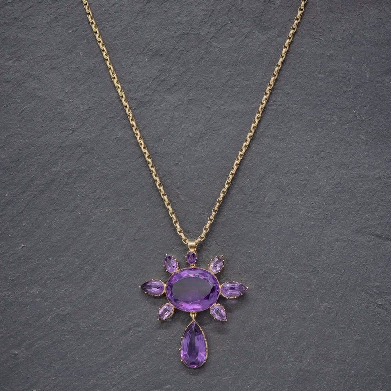 ANTIQUE VICTORIAN AMETHYST PENDANT NECKLACE 15CT GOLD CHAIN CIRCA 1900 NECK
