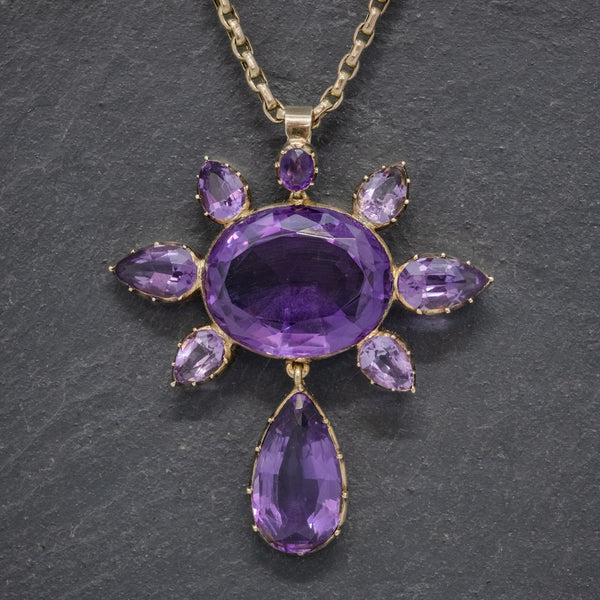 ANTIQUE VICTORIAN AMETHYST PENDANT NECKLACE 15CT GOLD CHAIN CIRCA 1900 FRONT