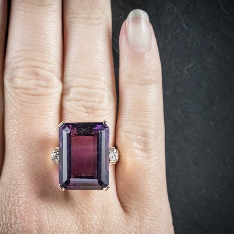 Antique Victorian Amethyst Ring 18ct Gold Circa 1900 hand