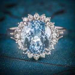 ANTIQUE VICTORIAN AQUAMARINE DIAMOND CLUSTER RING PLATINUM CIRCA 1900 COVER