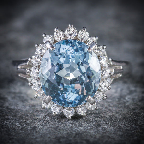 ANTIQUE VICTORIAN AQUAMARINE DIAMOND CLUSTER RING PLATINUM CIRCA 1900 FRONT