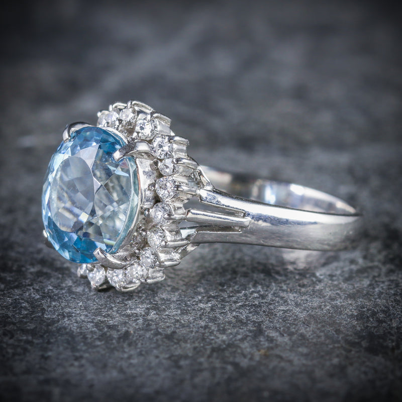 ANTIQUE VICTORIAN AQUAMARINE DIAMOND CLUSTER RING PLATINUM CIRCA 1900 SIDE