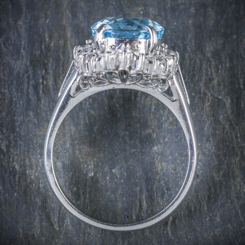 ANTIQUE VICTORIAN AQUAMARINE DIAMOND CLUSTER RING PLATINUM CIRCA 1900 TOP