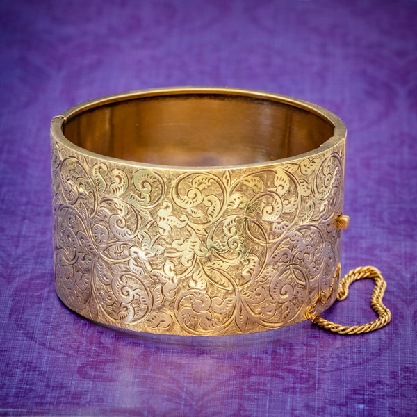 ANTIQUE VICTORIAN BANGLE 18CT GOLD ON SILVER CIRCA 1880 COVER