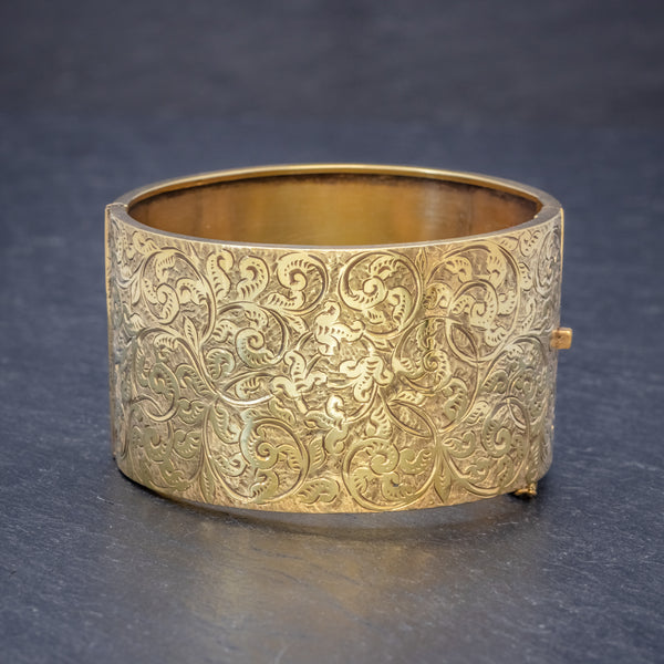 ANTIQUE VICTORIAN BANGLE 18CT GOLD ON SILVER CIRCA 1880 FRONT