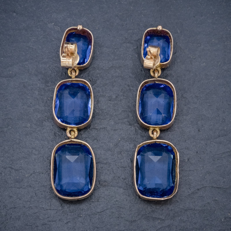 ANTIQUE VICTORIAN BLUE PASTE EARRINGS 9CT GOLD CIRCA 1900 BACK