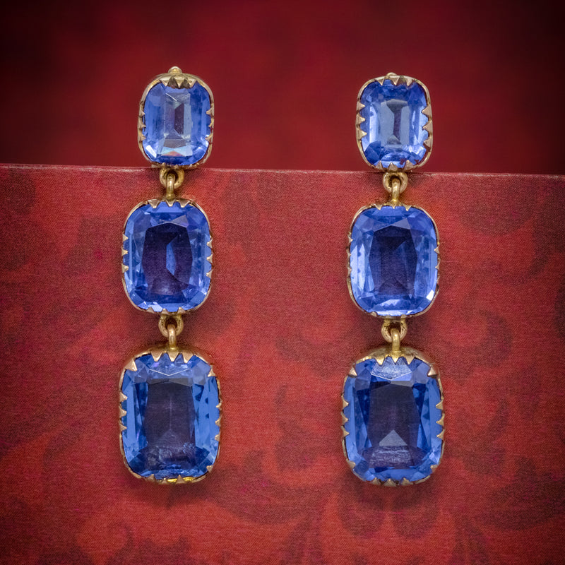 ANTIQUE VICTORIAN BLUE PASTE EARRINGS 9CT GOLD CIRCA 1900 COVER