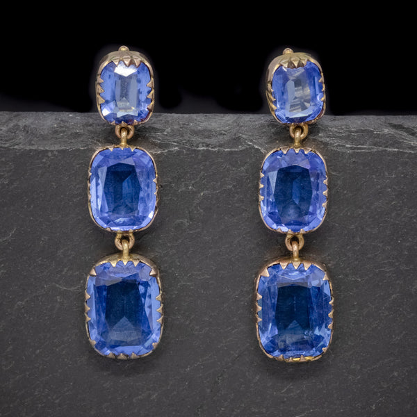 ANTIQUE VICTORIAN BLUE PASTE EARRINGS 9CT GOLD CIRCA 1900 FRONT