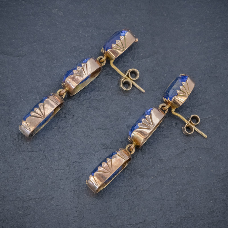 ANTIQUE VICTORIAN BLUE PASTE EARRINGS 9CT GOLD CIRCA 1900 SIDE