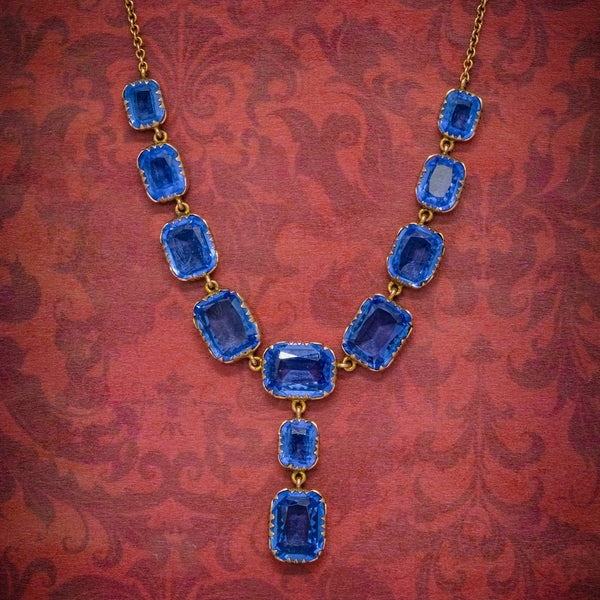ANTIQUE VICTORIAN BLUE PASTE LAVALIERE NECKLACE 9CT GOLD CIRCA 1900 COVER