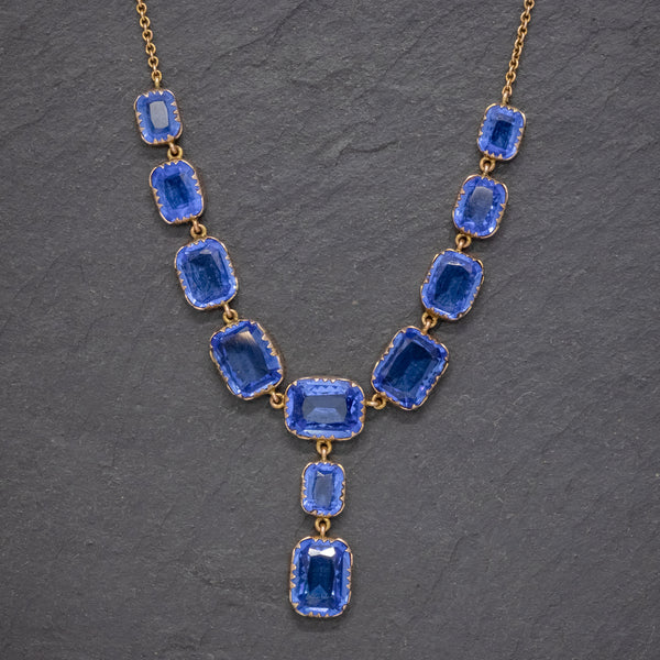 ANTIQUE VICTORIAN BLUE PASTE LAVALIERE NECKLACE 9CT GOLD CIRCA 1900 FRONT