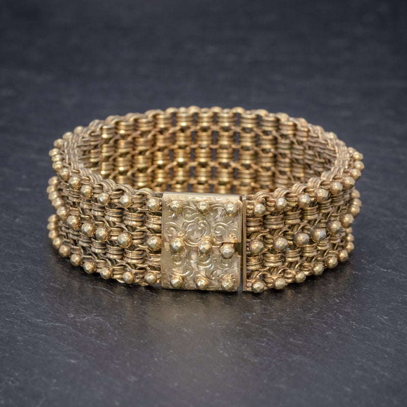 ANTIQUE VICTORIAN BRACELET 18CT GOLD ON SILVER CIRCA 1880 FRONT