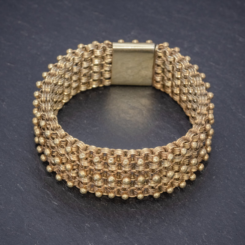 ANTIQUE VICTORIAN BRACELET 18CT GOLD ON SILVER CIRCA 1880 TOP