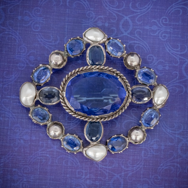 Antique Victorian Bristol Blue Paste Pearl Brooch Silver Circa 1900 COVER