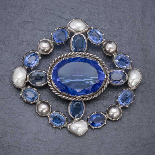 Antique Victorian Bristol Blue Paste Pearl Brooch Silver Circa 1900 FRONT