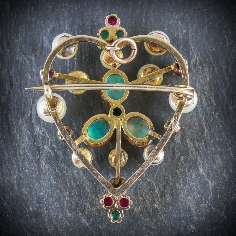 ANTIQUE VICTORIAN BROOCH EMERALD RUBY PEARL OPAL 18CT GOLD CIRCA 1900 BACK