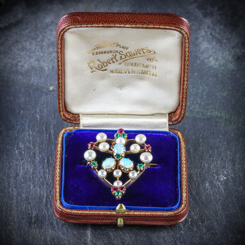 ANTIQUE VICTORIAN BROOCH EMERALD RUBY PEARL OPAL 18CT GOLD CIRCA 1900 BOX OPEN