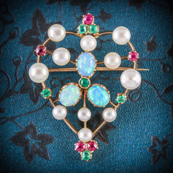 ANTIQUE VICTORIAN BROOCH EMERALD RUBY PEARL OPAL 18CT GOLD CIRCA 1900 COVER