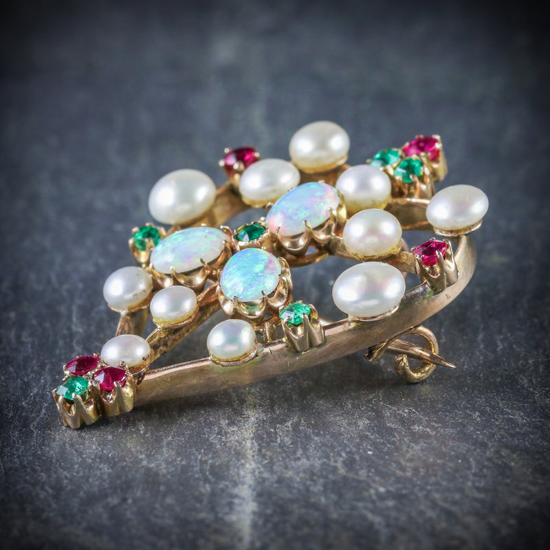 ANTIQUE VICTORIAN BROOCH EMERALD RUBY PEARL OPAL 18CT GOLD CIRCA 1900 SIDE