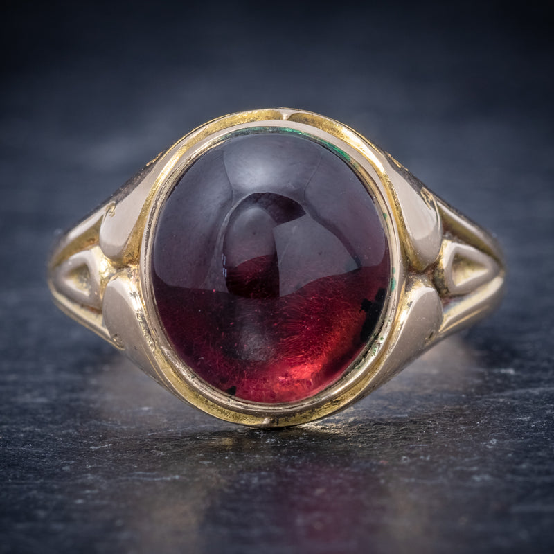 Antique Victorian Cabochon Garnet Ring 15ct Gold Dated 1868 front