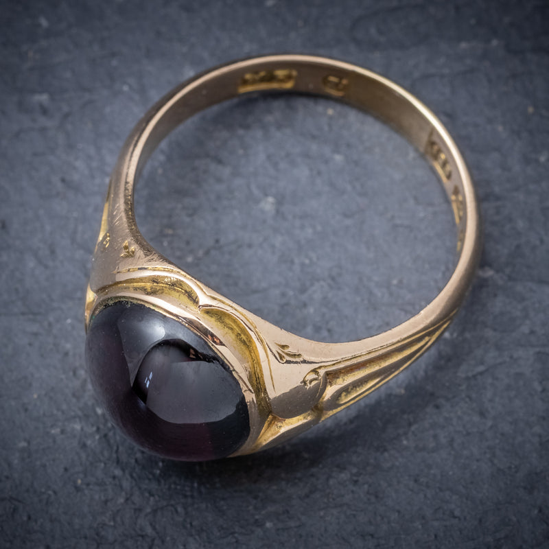 Antique Victorian Cabochon Garnet Ring 15ct Gold Dated 1868 top