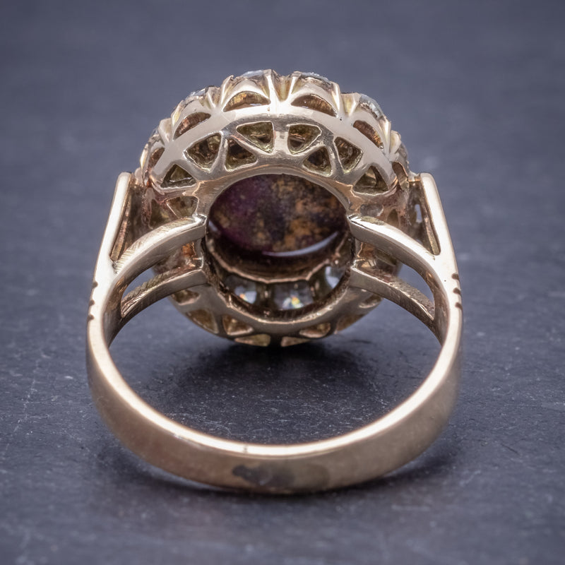 Antique Victorian Cabochon Star Ruby Diamond Ring 3ct Ruby Circa 1880 BACK