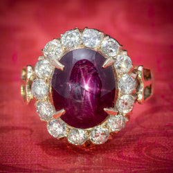 Antique Victorian Cabochon Star Ruby Diamond Ring 3ct Ruby Circa 1880 COVER