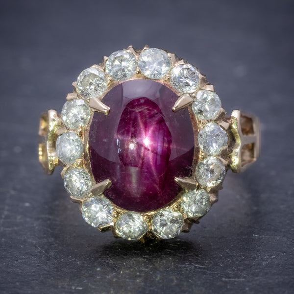 Antique Victorian Cabochon Star Ruby Diamond Ring 3ct Ruby Circa 1880 FRONT