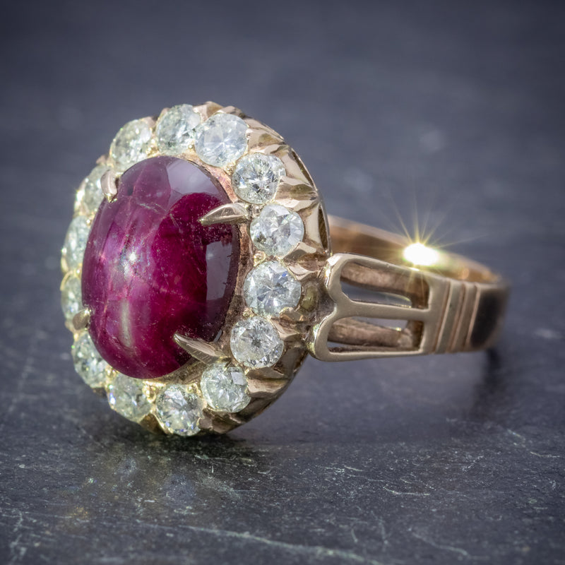 Antique Victorian Cabochon Star Ruby Diamond Ring 3ct Ruby Circa 1880 SIDE