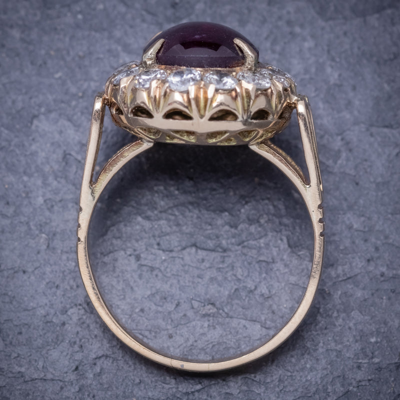 Antique Victorian Cabochon Star Ruby Diamond Ring 3ct Ruby Circa 1880 TOP