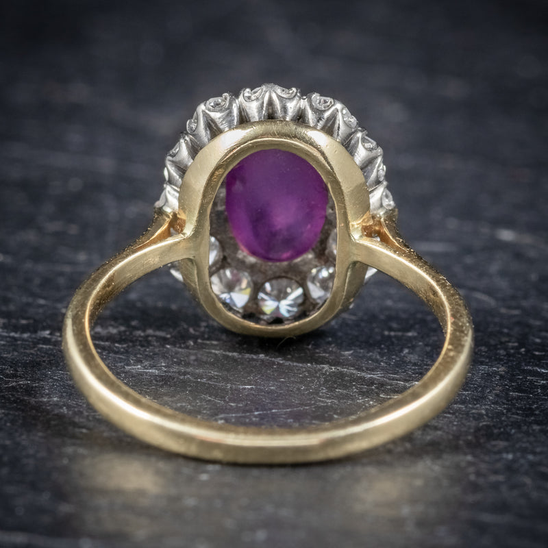 ANTIQUE VICTORIAN CABOCHON STAR RUBY DIAMOND RING CIRCA 1900 BACK