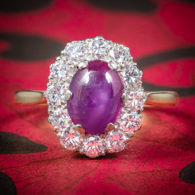 ANTIQUE VICTORIAN CABOCHON STAR RUBY DIAMOND RING CIRCA 1900 COVER