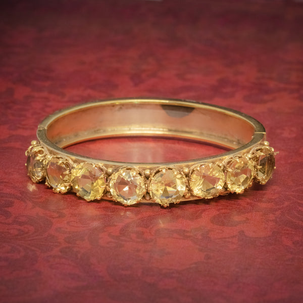 ANTIQUE VICTORIAN CITRINE BANGLE SILVER 18CT GOLD GILT CIRCA 1900 COVER