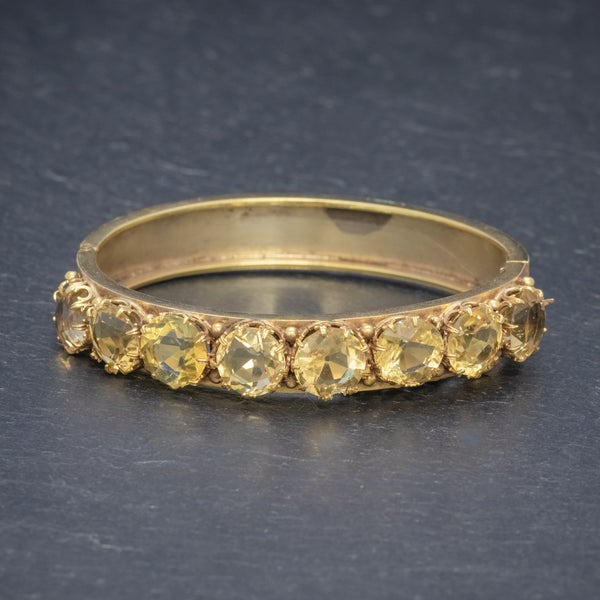 ANTIQUE VICTORIAN CITRINE BANGLE SILVER 18CT GOLD GILT CIRCA 1900 FRONT
