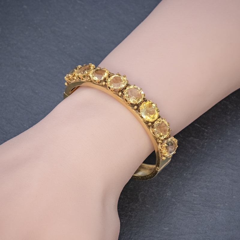 ANTIQUE VICTORIAN CITRINE BANGLE SILVER 18CT GOLD GILT CIRCA 1900 HAND