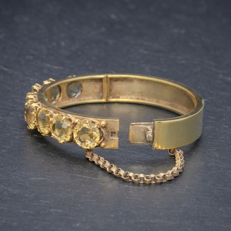 ANTIQUE VICTORIAN CITRINE BANGLE SILVER 18CT GOLD GILT CIRCA 1900 SIDE