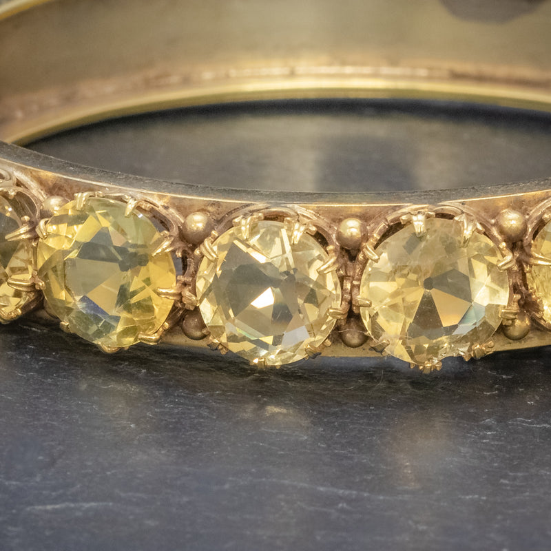 ANTIQUE VICTORIAN CITRINE BANGLE SILVER 18CT GOLD GILT CIRCA 1900 STONES